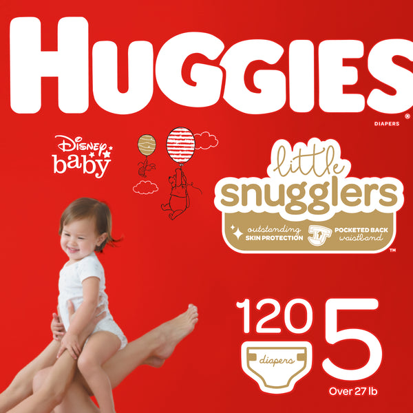 HUGGIES Little Snugglers Diapers, Size 5, 120 Count