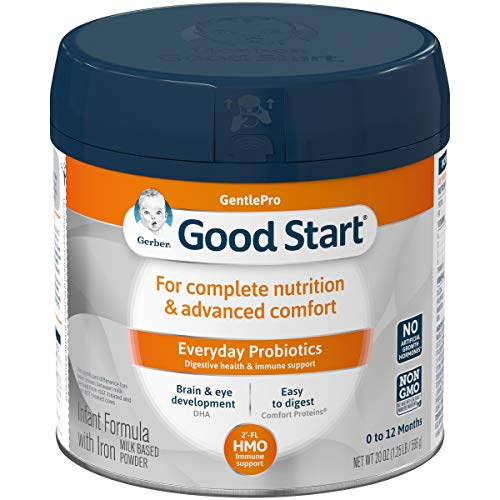 Gerber Good Start Gentle (HMO) Non-GMO Powder Infant Formula, Stage 1, 20 Ounce (Pack of 6)