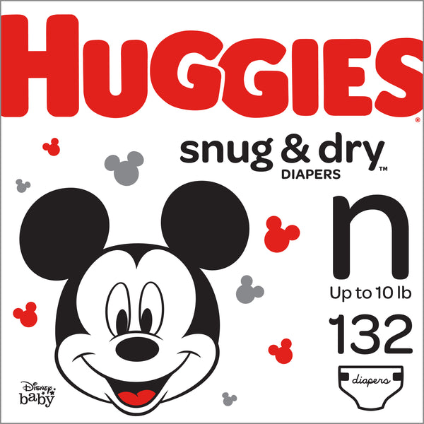 HUGGIES Snug & Dry Diapers, Size Newborn, 132 Count