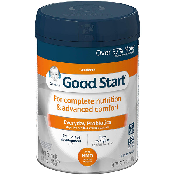 Gerber Good Start Gentle (HMO) Non-GMO Powder Infant Formula, Stage 1, 32 Ounce (Pack of 1)