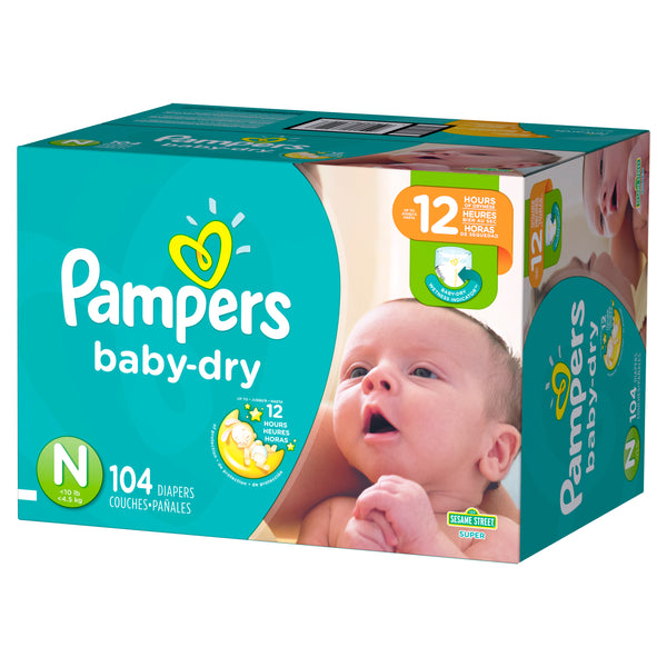 Pampers Baby-Dry Diapers Size N 104 Count Newborn