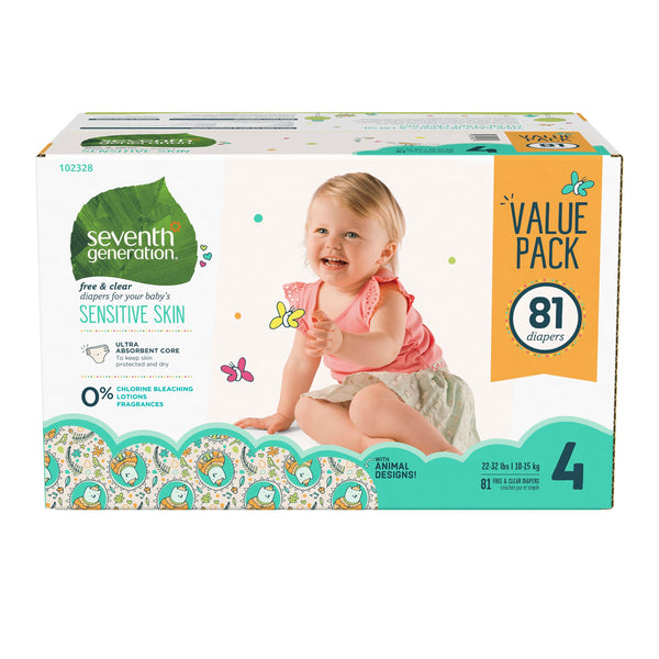 Seventh Generation Baby Diapers with Animal Prints Size 4, 22-37lbs 81 count