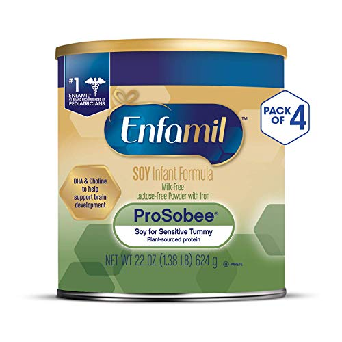 Enfamil ProSobee Soy Sensitive Baby Formula, Dairy-Free Lactose Free Plant Protein Milk Powder, 22 ounce (Pack of 4) - Omega 3 DHA, Iron, Immune & Brain Support