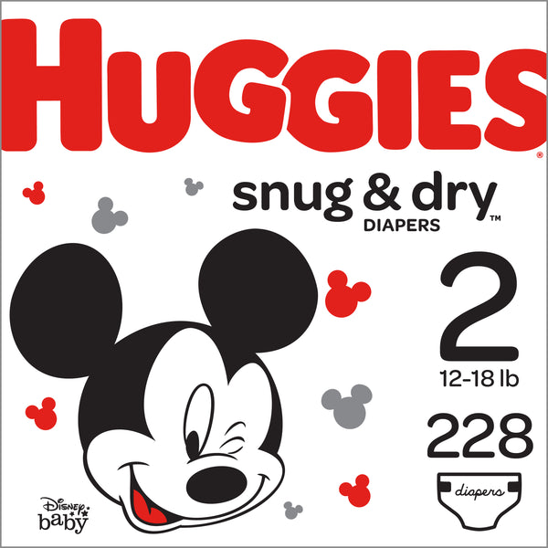 HUGGIES Snug & Dry Diapers, Size 2, 228 Count