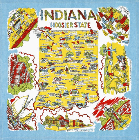 Indiana State Retro Dish Towel