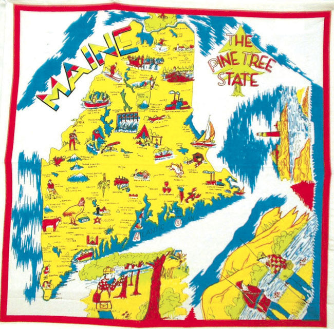 Maine State Retro Dish Towel