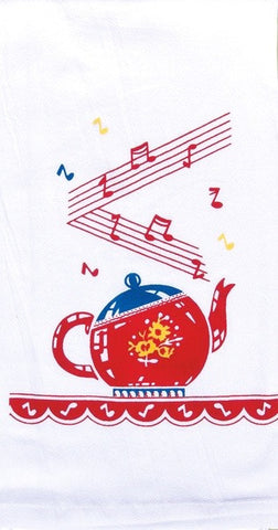 Singing Tea Pot Retro Dish Towel