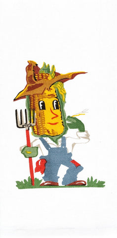 Corn Guy Retro Dish Towel