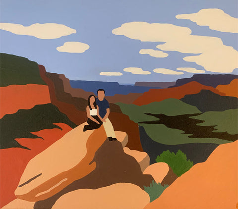 Custom painting of couple in Grand Canyon