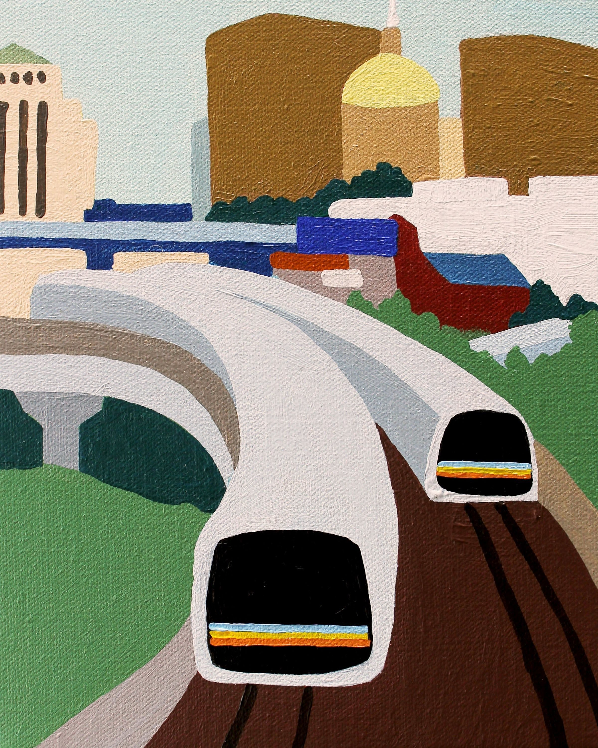 Marta in Downtown Atlanta Capitol in background Original Artwork Print