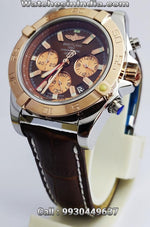 Breitling Chronomat Chronograph Brown Leather Strap Watch