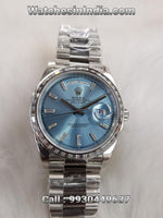 Rolex Day-Date ICE Blue Dial Jewel Automatic First Copy Watch For Women
