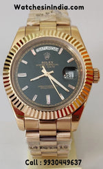 Rolex Day-Date Black Dial Rose Gold Automatic Watch
