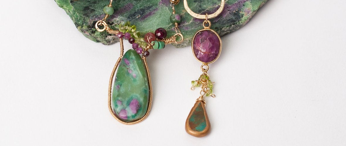 oasis unique gold filled ruby in zoicite turquoise gemstone jewelry bracelets necklace earrings for women