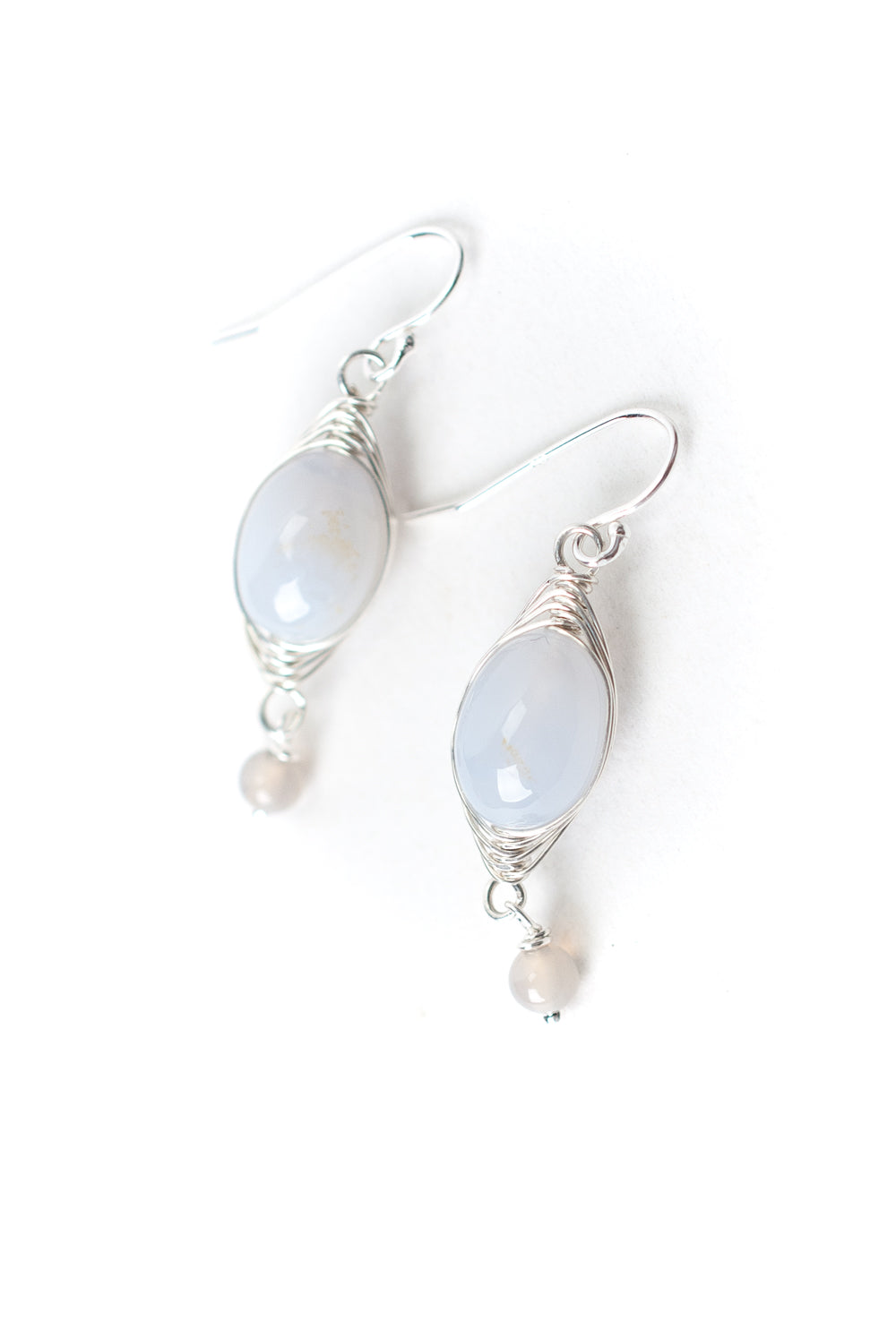 Silver Sky Blue Lace Agate Herringbone Earrings