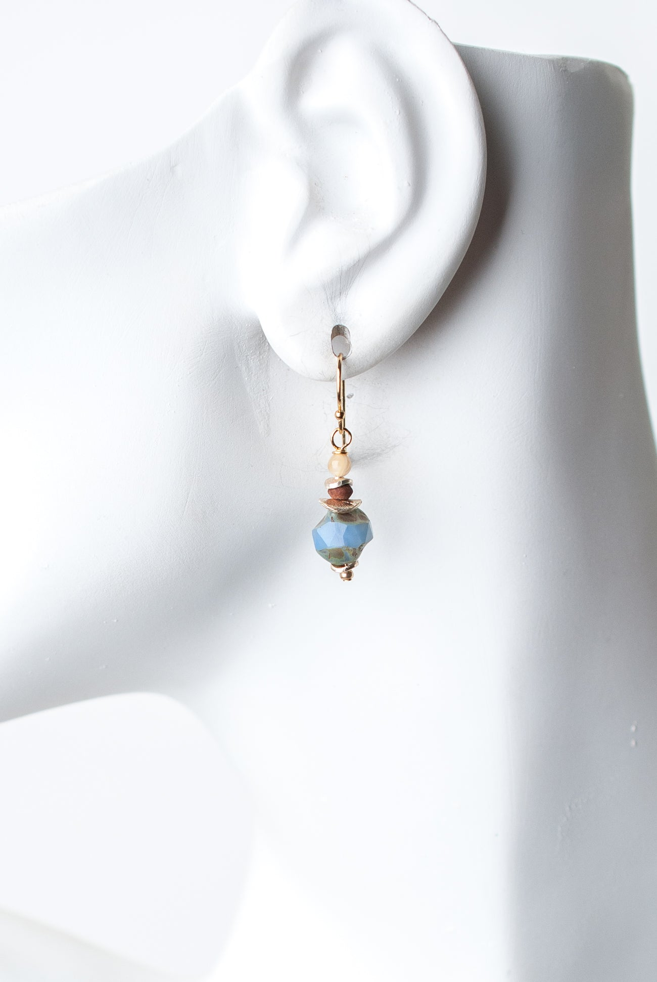 Sand and Sea Mother of Pearl, Jasper, Czech Glass Dangle Earrings