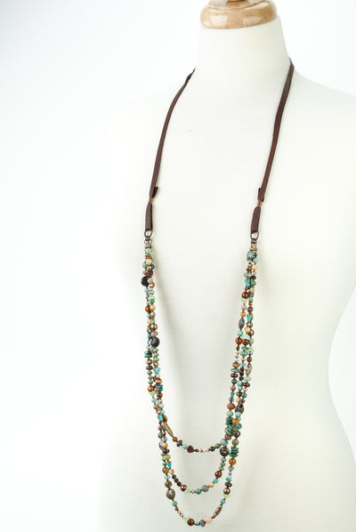 One of a Kind Adjustable Leather, Turquoise, Jasper, Freshwater Pearl Collage Necklace