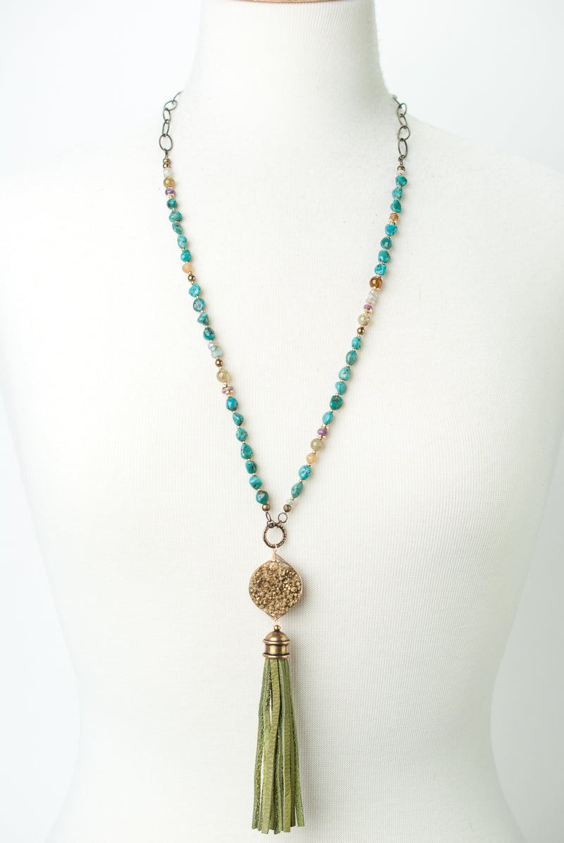 "One of a Kind 33-36"" Natural Turquoise, Gemstones, Druzy Tassel Necklace"