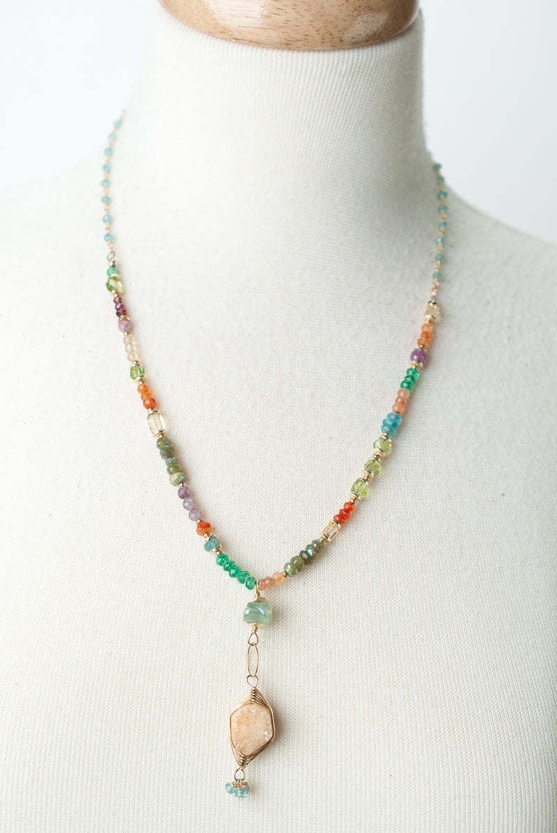 "Limited Edition 21-23"" Chalcedony, Ruby, Druzy Herringbone Focal Necklace"