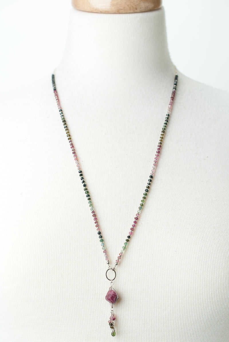 "Limited Edition 27.5-29.5"" Tourmaline Herringbone Cluster Necklace"