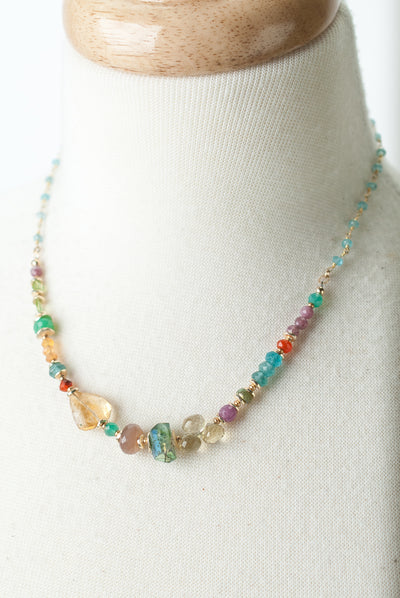 "Limited Edition 17-19"" Citrine, Ruby, Chalcedony Collage Necklace"