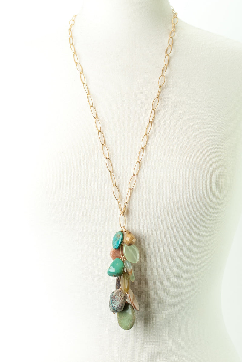 One of a Kind Turquoise, Mother of Pearl, Calcite Cluster Necklace