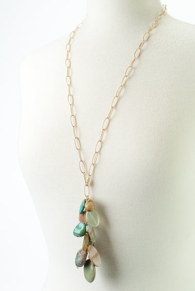 One of a Kind Adjustable Turquoise, Mother of Pearl, Calcite Cluster Necklace