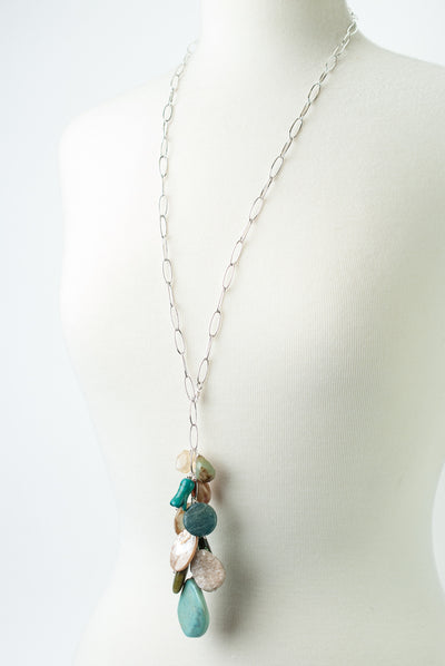 One of a Kind Adjustable Olive Jade, Turquoise, Apatite Cluster Necklace