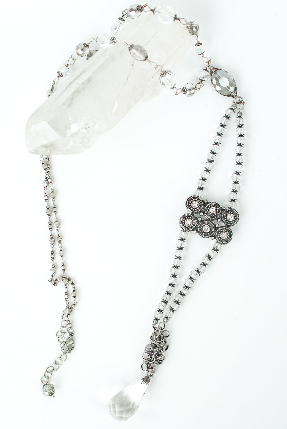 "One of a Kind 25-27"" Vintage Crystal Necklace"