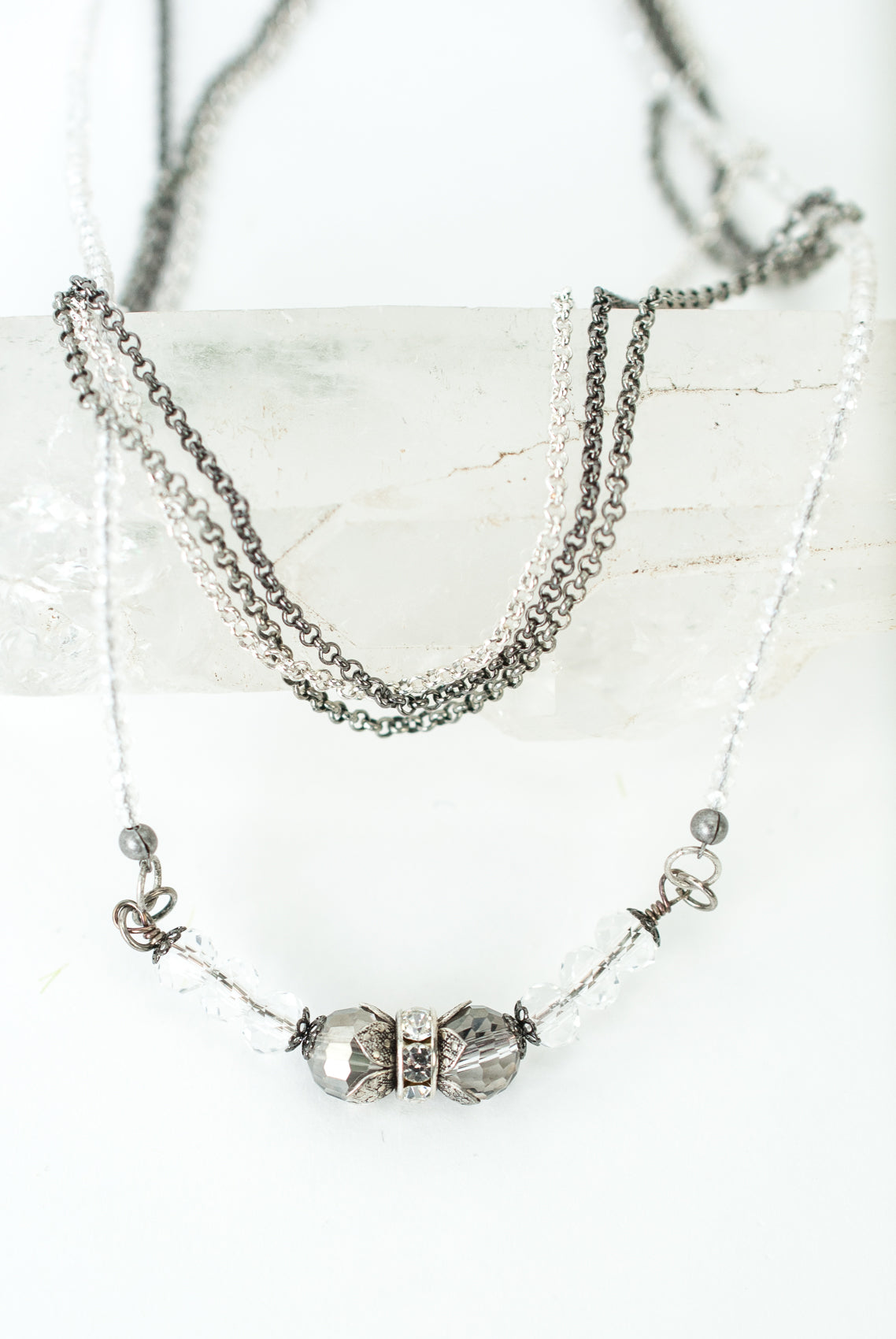 "Limited Edition 17-19"" Vintage Crystal Multistrand Necklace"