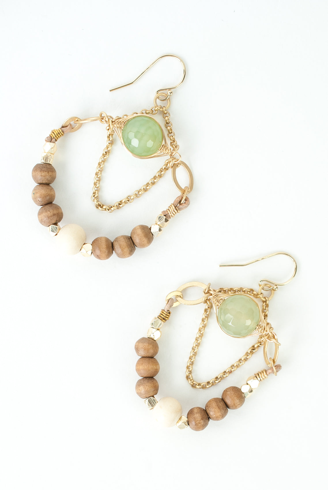 Limited Edition Wood, Vintage Glass, Leather Chandelier Earrings