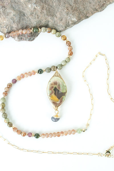 "One of a Kind 27-29"" Czech Glass, Amazonite, Dragon Egg Jasper Collage Focal Necklace"
