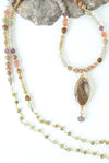 "One of a Kind 28-30"" Czech Glass, Cat's Eye, Dragon Egg Jasper Collage Focal Necklace"