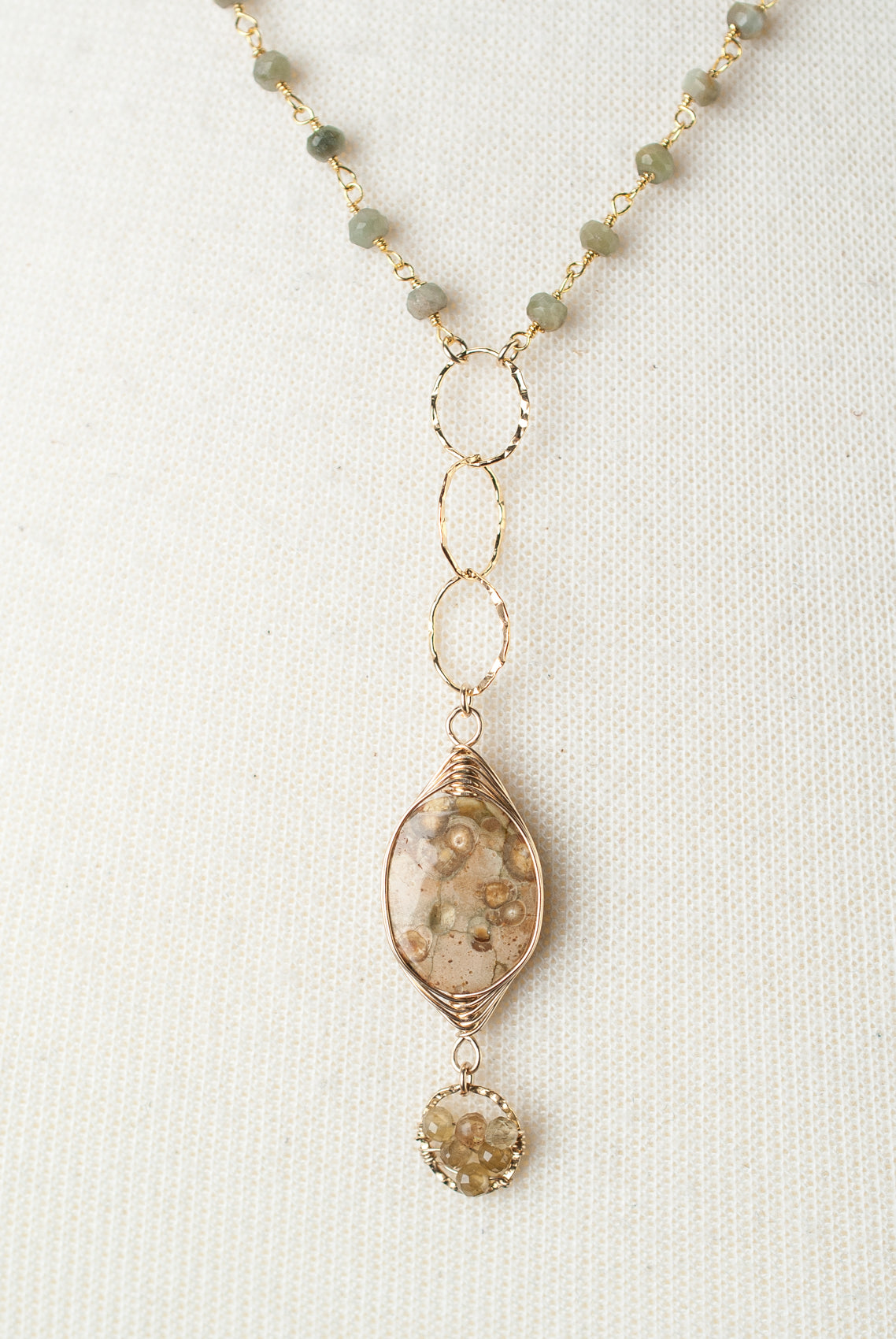 "One of a Kind 18-20"" Green Cat's Eye, Dragon Egg Jasper Focal Necklace"