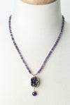 "One of a Kind 18.5-20.5"" Amethyst, Druzy Focal Necklace"