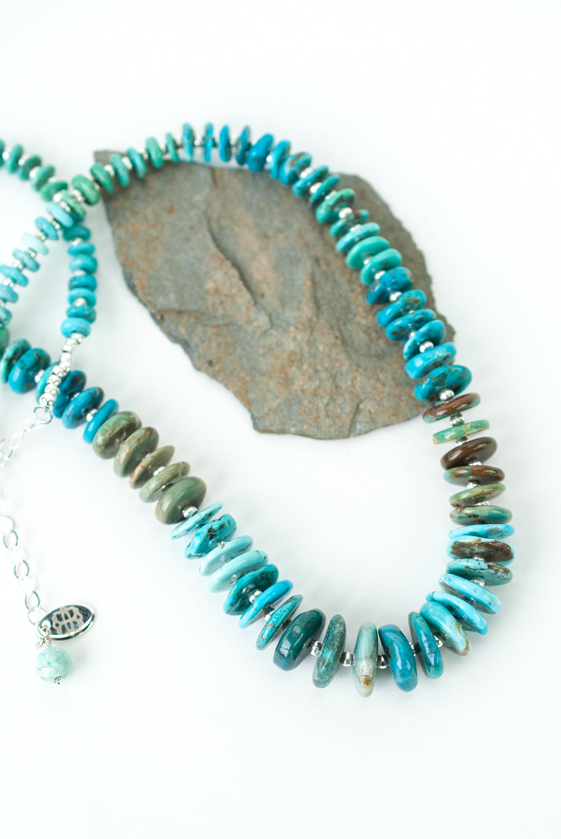 "One of a Kind 16-18"" Rainbow Turquoise Collage Necklace"
