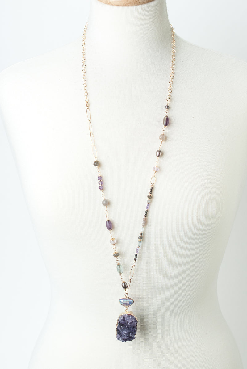 "One of a Kind 20"" or 36"" Amethyst, Labradorite, Moonstone Necklace"