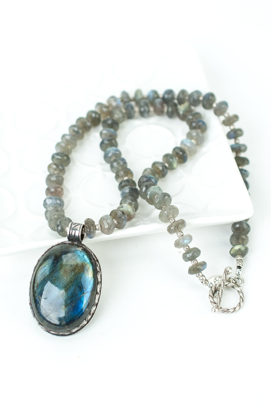 "One of a Kind 20"" Labradorite and Fine Silver Focal Necklace"