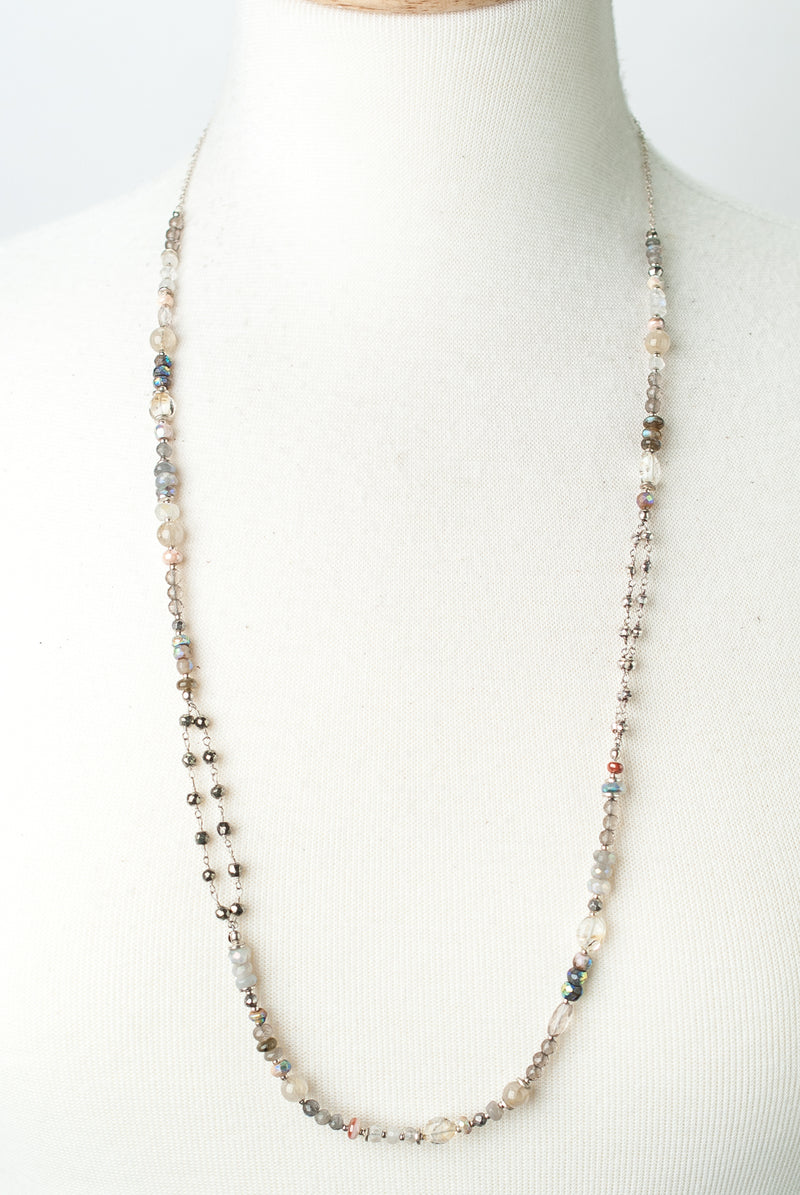 "One of a Kind 28-30"" Labradorite, Moonstone, Pyrite Necklace"