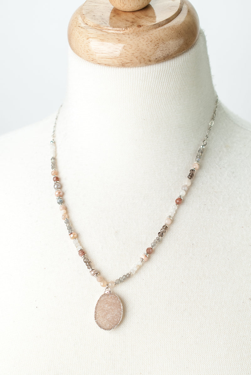 "One of a Kind 18.5-20.5"" Czech Glass, Moonstone, Pink Druzy Necklace"