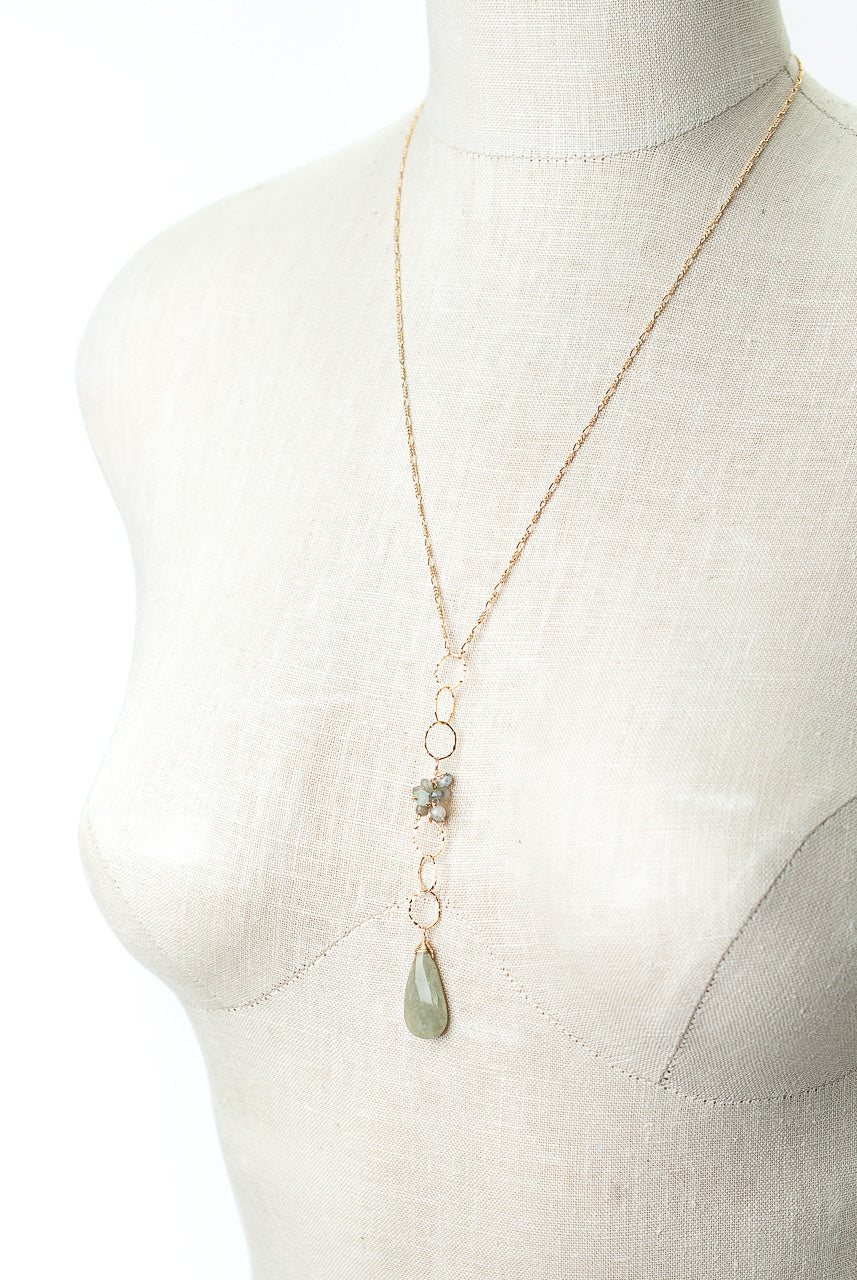 "One of a Kind 23-25"" Green Cats Eye, Green Moss Aquamarine Cluster Focal Necklace"