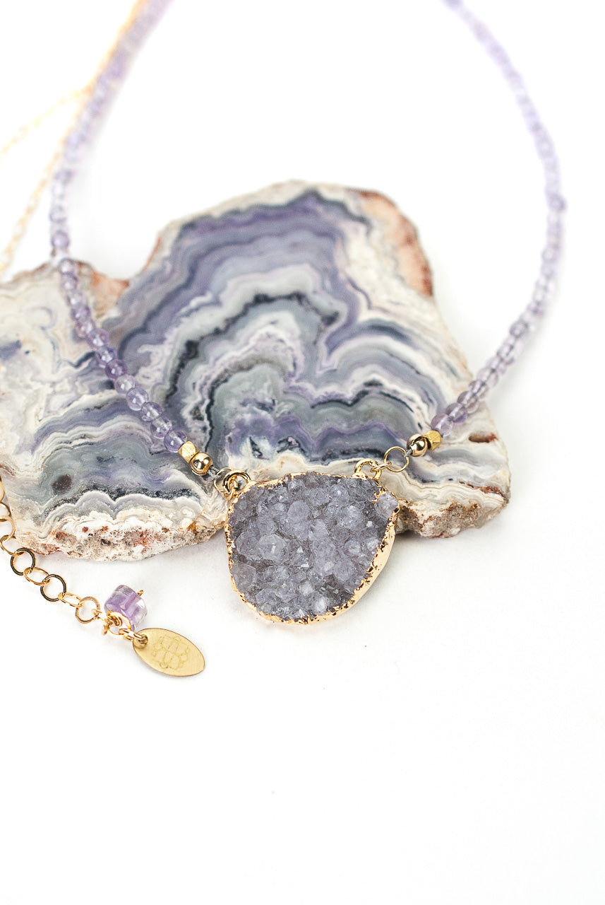 "One of a Kind 21.5-23.5"" Amethyst, Druzy Focal Necklace"