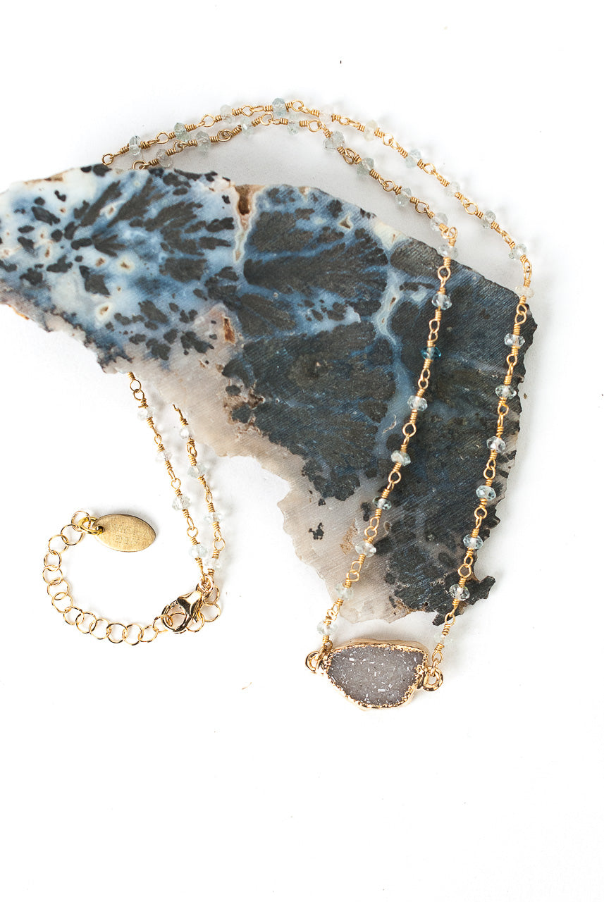 "One of a Kind 18.25-20.25"" Aquamarine, Druzy Focal Necklace"