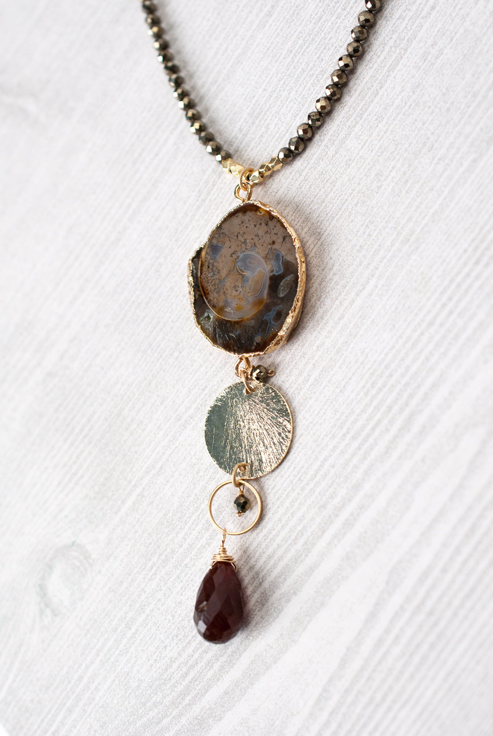 "One of a Kind 19.5-21.5"" Pyrite, Topaz, Shell Slice Focal Necklace"