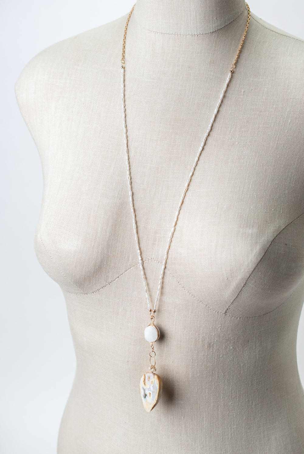 "One of a Kind 31-33"" Fresh Water Pearl, Druzy, Fossilized Shell Focal Necklace"
