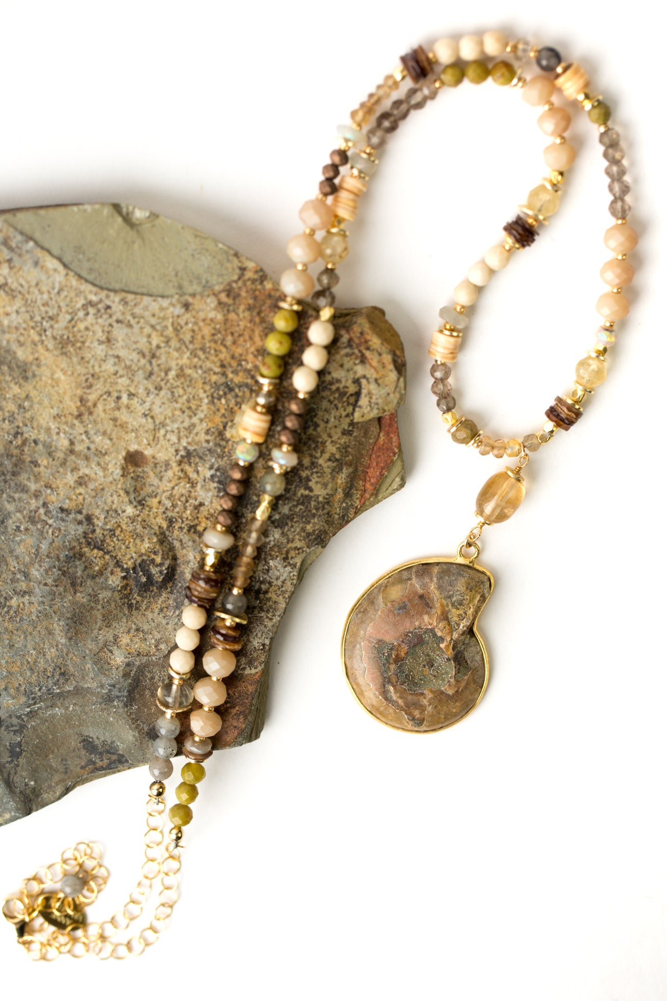 "One of a Kind 24-26"" Fossilized Shell, Czech Glass, Olive Jade Collage Focal Necklace"