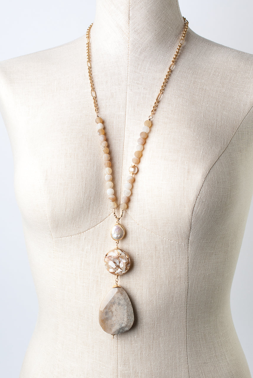 "One of a Kind 29-31"" Agate, Shell Mosaic, Fossilized Coral Focal Necklace"