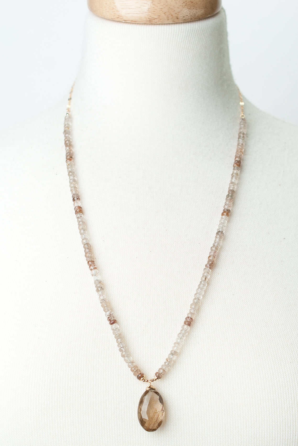 "One of a Kind 25-27"" Golden Rutilated Quartz Focal Necklace"