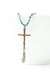 "Limited Edition 29-31"" Turquoise and Bronze Cross Focal Necklace"