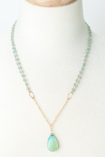 "Limited Edition 22.5-24.5"" Chalcedony, Peruvian Opal Focal Necklace"